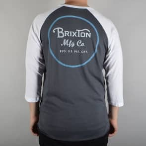 Brixton Wheeler 3/4 Sleeve Raglan T-Shirt - Blue/White