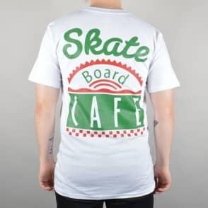 Skateboard Cafe Latte Diner Logo Skate T-Shirt - White