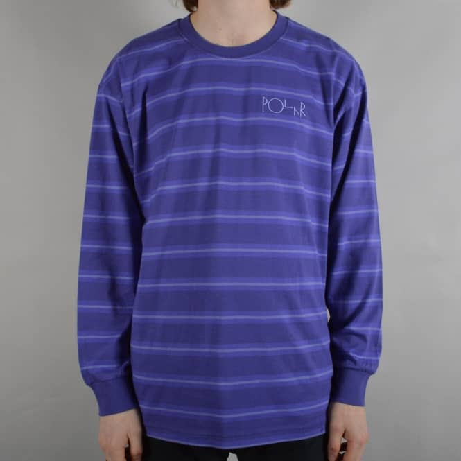 Polar Skateboards 91 Striped Longsleeve T-Shirt - Violet
