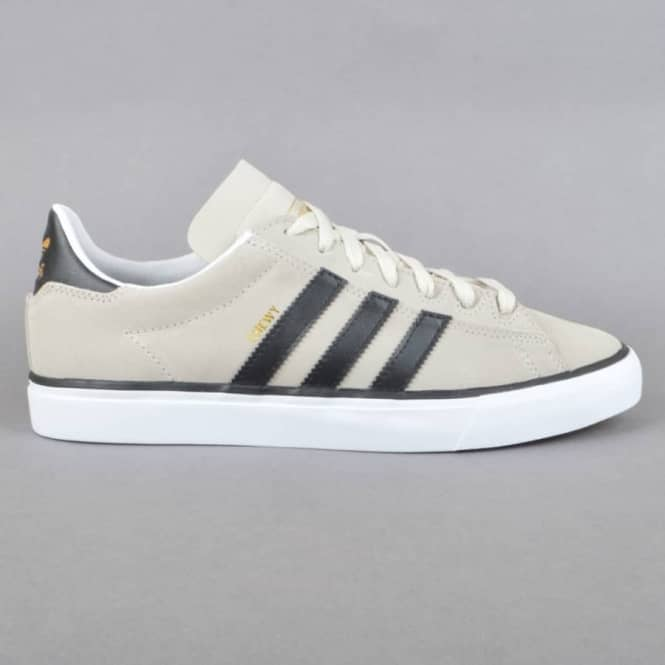 Adidas Skateboarding Campus Vulc II (Chewy) Skate Shoes - Mist Stone/Core Black/Gold Metallic