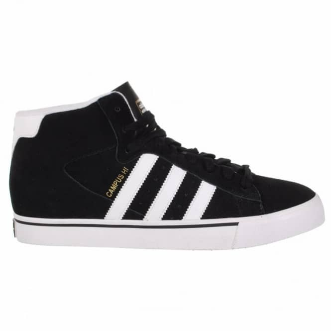 pretty nice 24ba9 268eb ... usa adidas skateboarding campus vulc mid skate shoes black running  white metallic gold e522c e0502