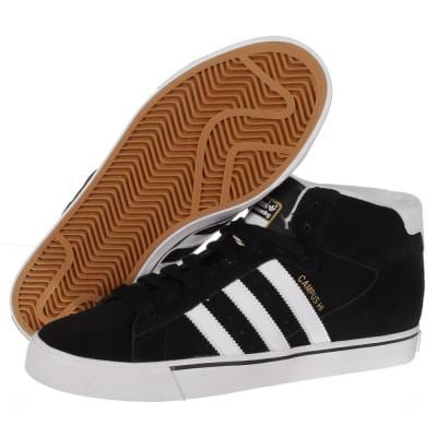 adidas campus vulc mid skate shoes - black/white/bluebird
