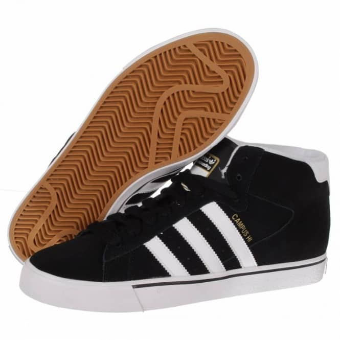 new product 4ae25 3501f Adidas Skateboarding Campus Vulc Mid Skate Shoes - BlackRunning WhiteMetallic  Gold