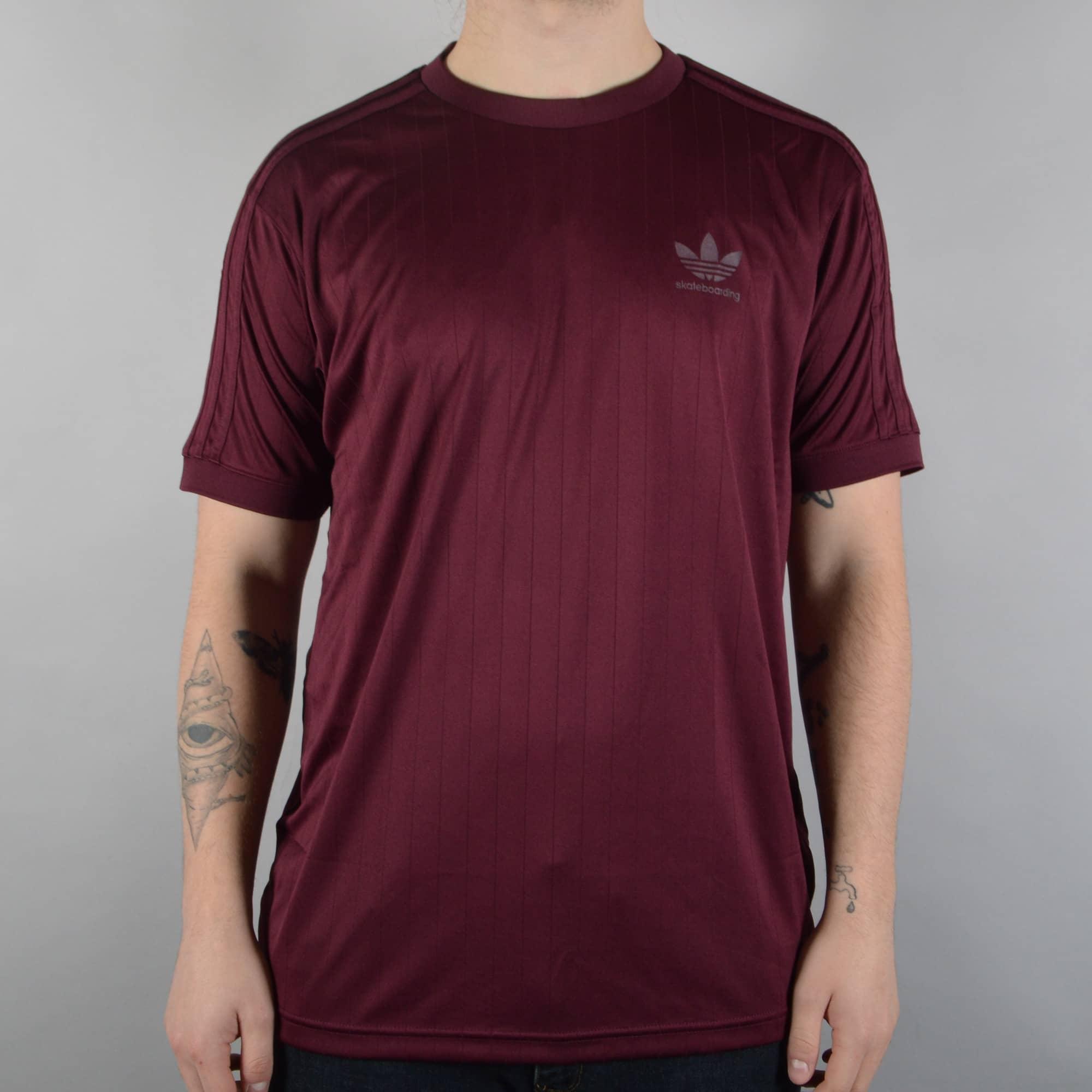 Adidas Skateboarding Clima Club Jersey Skate T-Shirt - Maroon/Gold