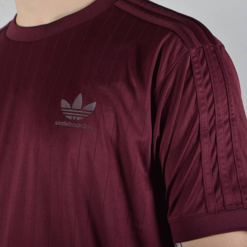 b3b8c918a Adidas Skateboarding Clima Club Jersey Skate T-Shirt - Maroon/Gold ...