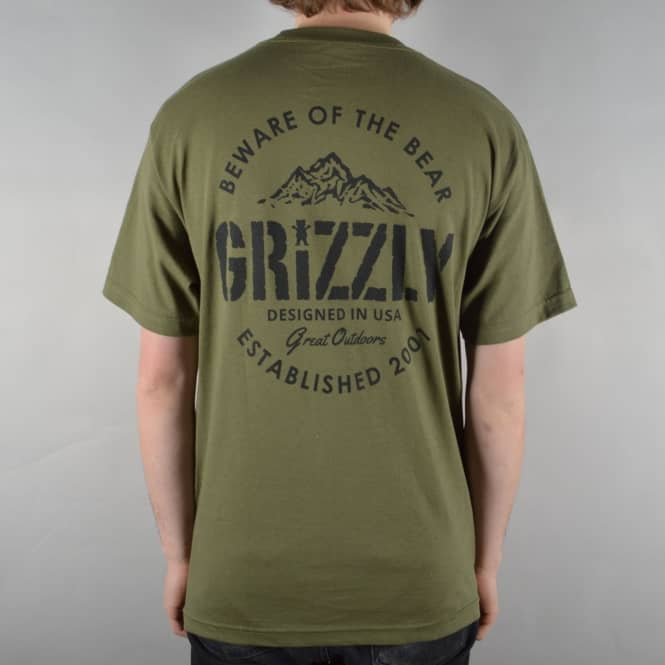 Grizzly Griptape All Terrain Skate T-Shirt - Military Green