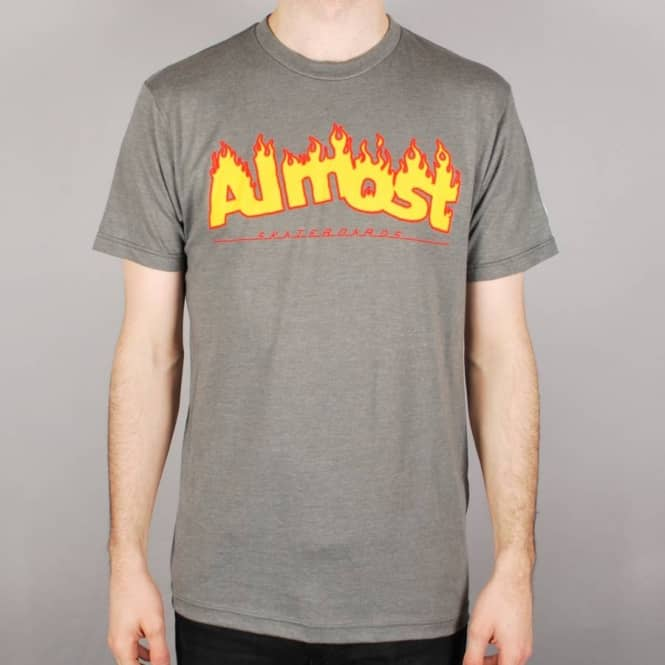 Almost Skateboards Almost Flaming Logo Skate T-Shirt - Platinum Heather