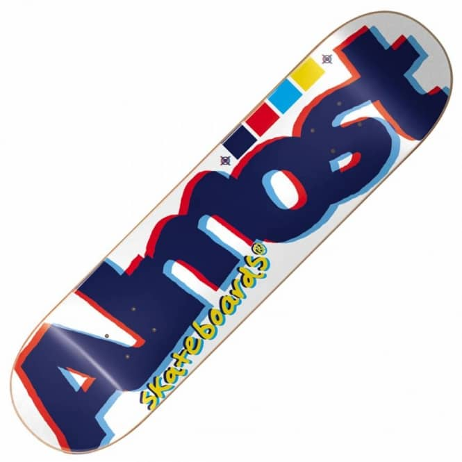 Almost Skateboards Almost Off Register White Skateboard Deck 8.5''