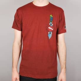 Almost Skate Knife Skate T-Shirt Brick/Black Heather