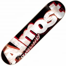 Almost Skateboards Almost Word Mark Crusty Black Skateboard Deck 8.0''