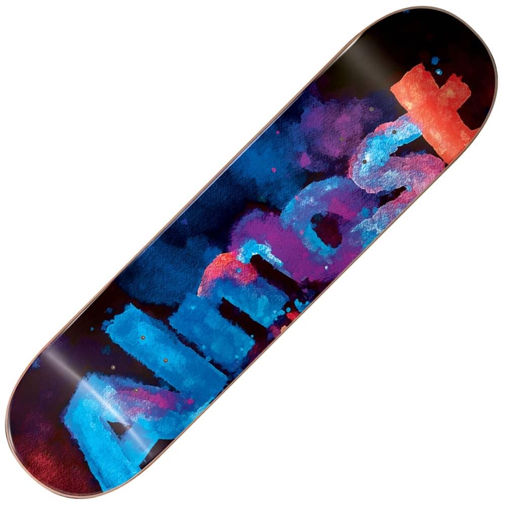 almost skateboards blotchy logo blue skateboard deck 75