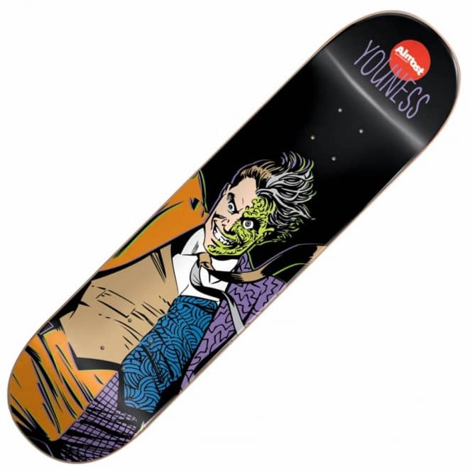 Almost Skateboards Youness Villain Two Face V2 Skateboard Deck 8.0''