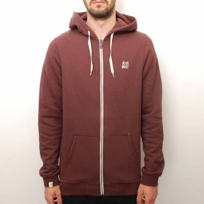 Altamont Altamont Basic Zip Fleece Hooded Top - Oxblood