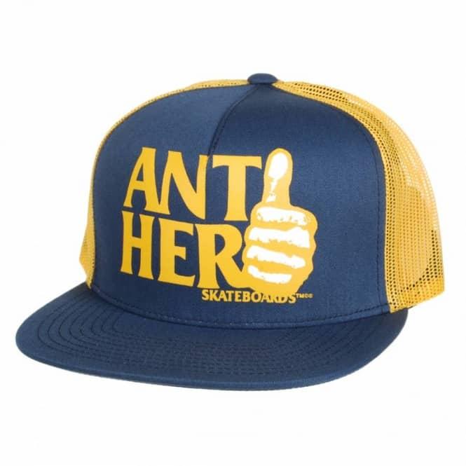 Antihero Skateboards Anti-Hero Thumbs Trucker Cap - Navy Yellow ... 55195f9d09e