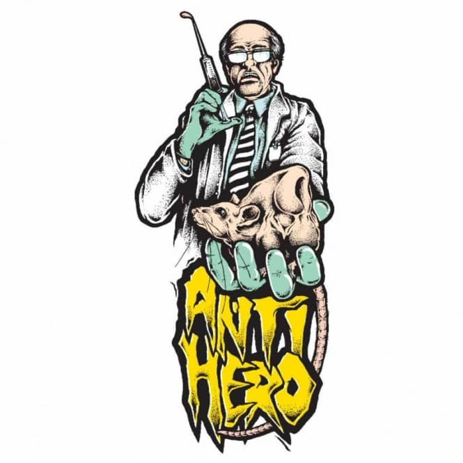 Anti hero mad scientist skateboard sticker