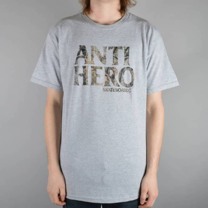 Antihero Skateboards Black Hero Tree Camo Skate T-Shirt - Grey