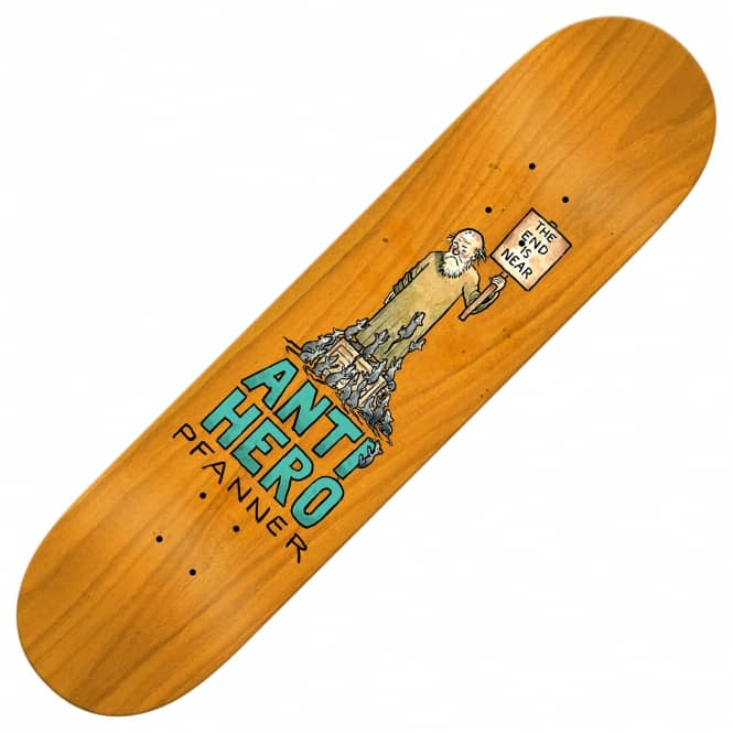 Antihero Skateboards Pfanner Wonderful Life (Full Shape Orange Stain) Skateboard Deck 8.25