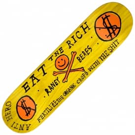 Raney Eat The Rich (Full Shape) Yellow Stain Skateboard Deck 8.06