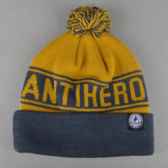 Antihero Skateboards Stay Ready Bobble Beanie - Navy/Khaki