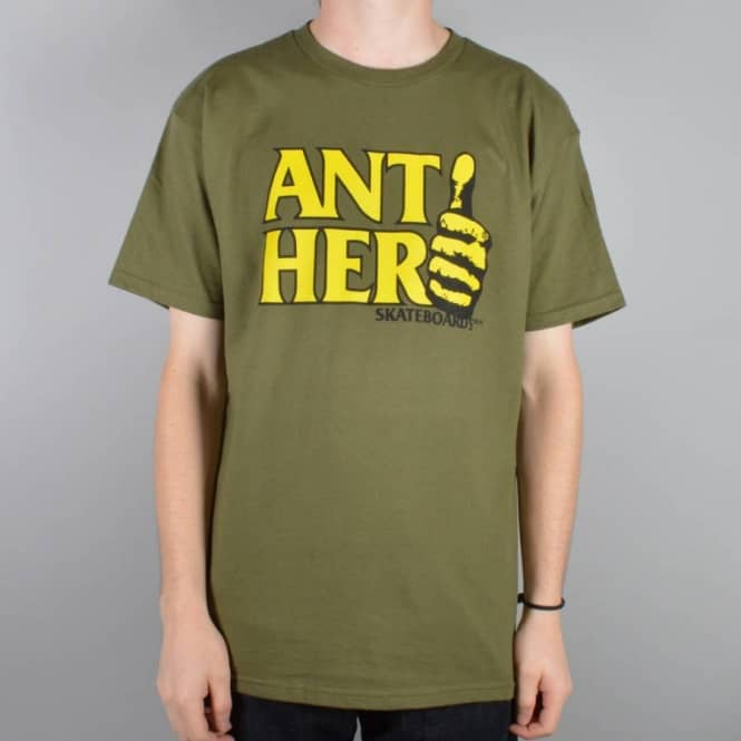 Antihero Skateboards Thumb Hero Skate T-Shirt - Military Green