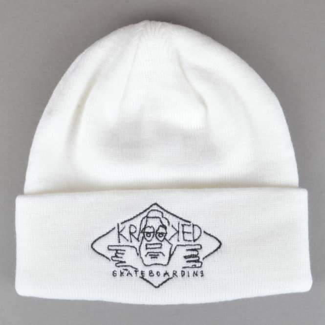 Krooked Skateboards Arketype 2 Embroidered Cuff Beanie - White