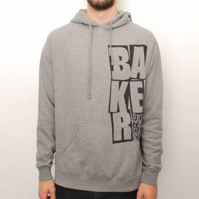 Baker Skateboards Baker Side Stacked Pullover Hoodie - Heather Grey