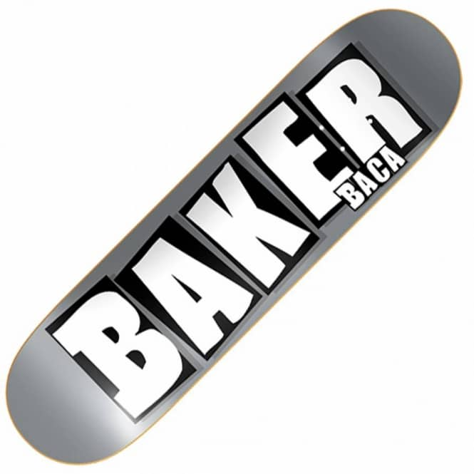 Baker Skateboards Baca Brand Name Silver/White Skateboard Deck 8.475''