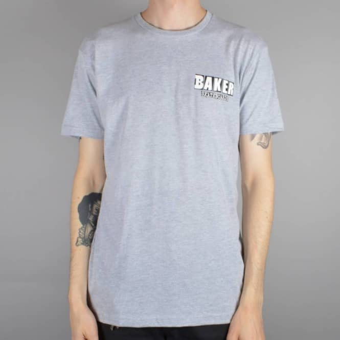Baker Skateboards Brand Logo Dubs Skate T-Shirt - Heather Grey