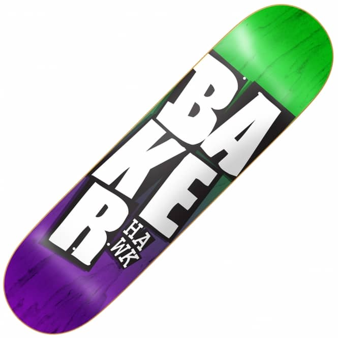 Baker Skateboards Hawk Stacked Green/Purple Skateboard Deck 8.125