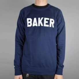 Baker Skateboards Rally Crewneck Sweater - Navy/White