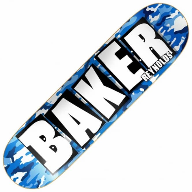 Baker Skateboards Reynolds Brand Name Blue Camo Skateboard Deck 8.3875