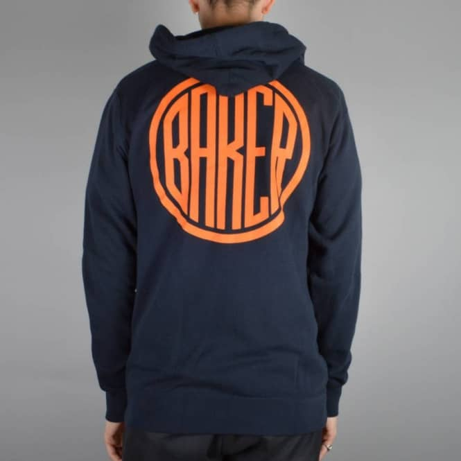 Baker Skateboards ROTC Zip Hoodie - Navy/Orange