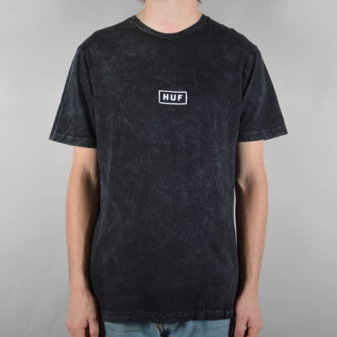 HUF Bar Logo Overdye Mineral Wash T-Shirt - Black