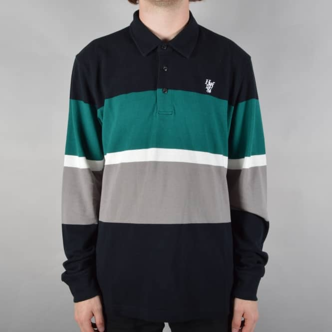 HUF Bayside Longsleeve Polo Shirt - Black/Green/Grey