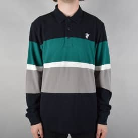 Bayside Longsleeve Polo Shirt - Black/Green/Grey