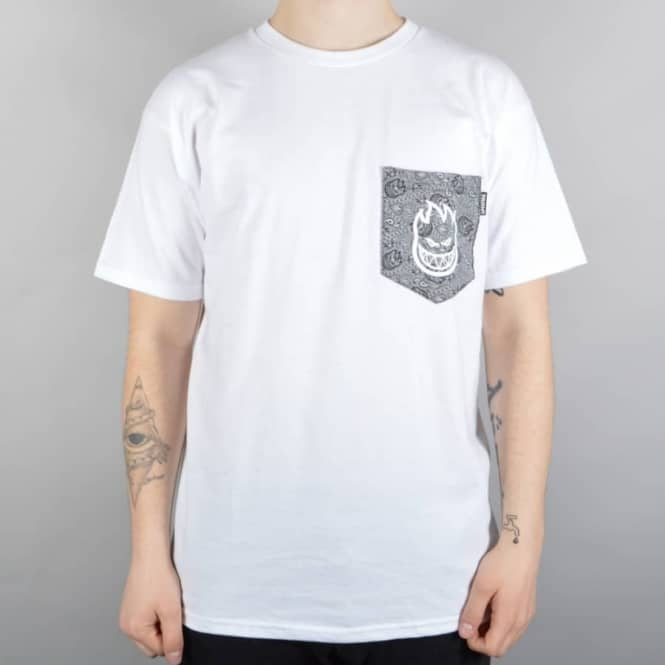 Spitfire Wheels Bighead Paisley Pocket T-Shirt - White