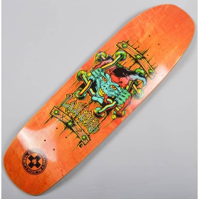 Black Label Lucero Skateboard Emergency X2 Reissue Deck Jester Orange Stain