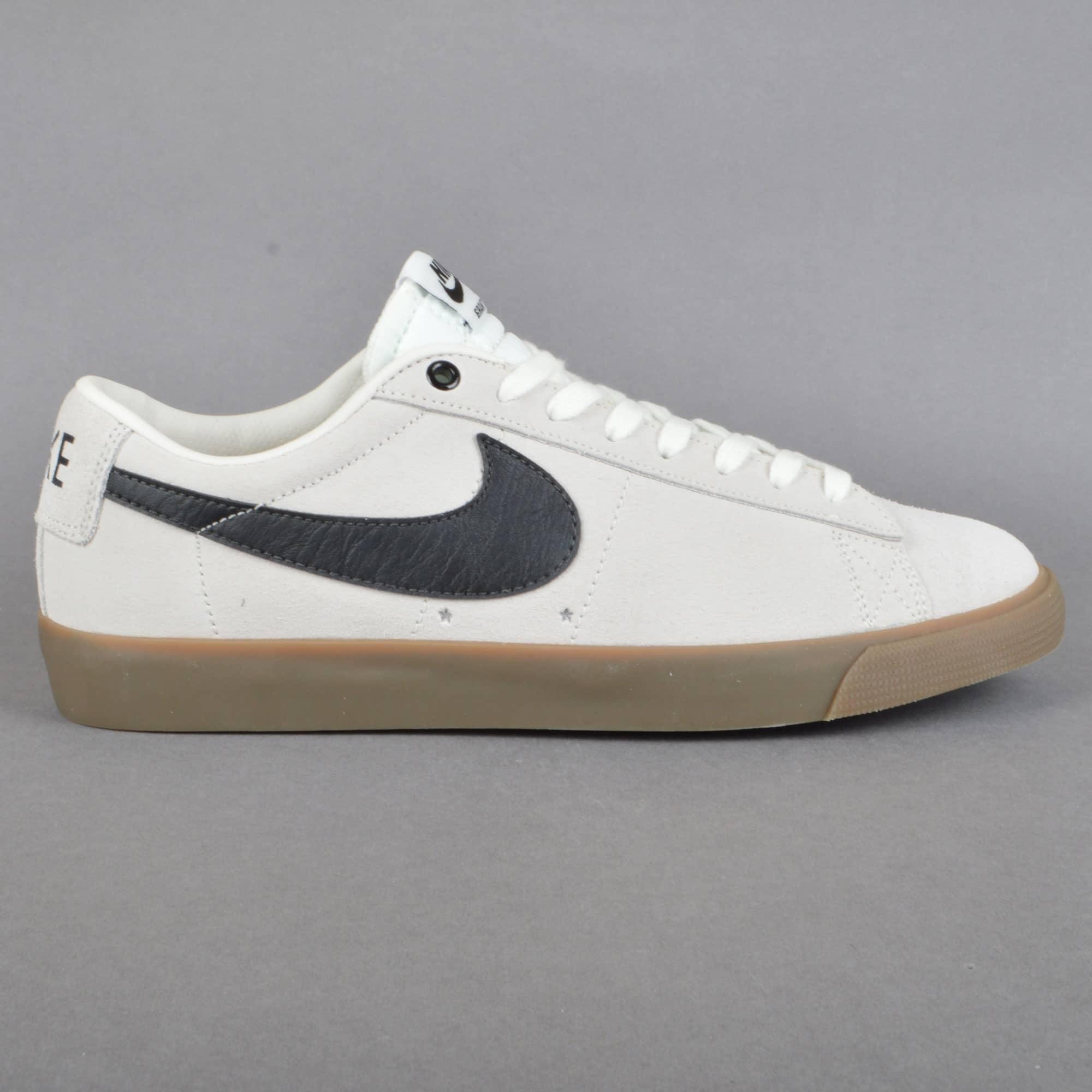 Nike SB Blazer Low GT Skate Shoes - Ivory/Black-Gum Light Brown