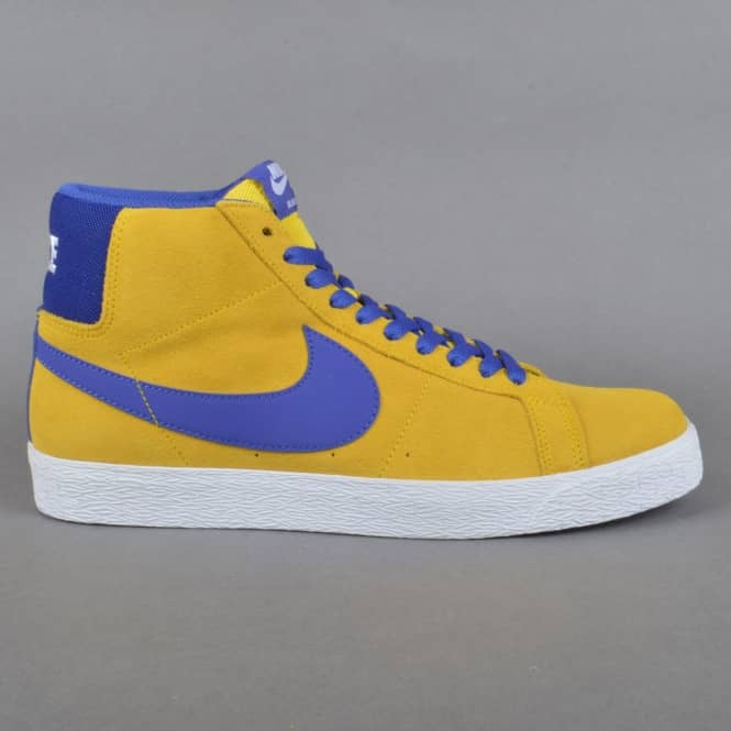 Nike SB Blazer Zoom Mid Skate Shoes - Tour Yellow/Deep Night-White