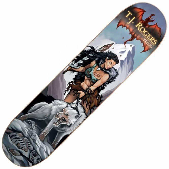 Blind Skateboards TJ Rogers White Wolf Skateboard Deck 8.0