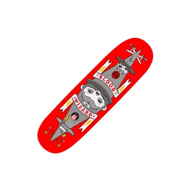 Blood Wizard Jeremy Fish Red Skateboard Deck 8.5