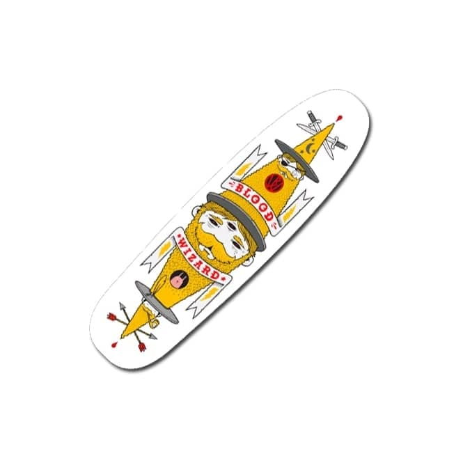 Blood Wizard Jeremy Fish White Skateboard Deck 9.0