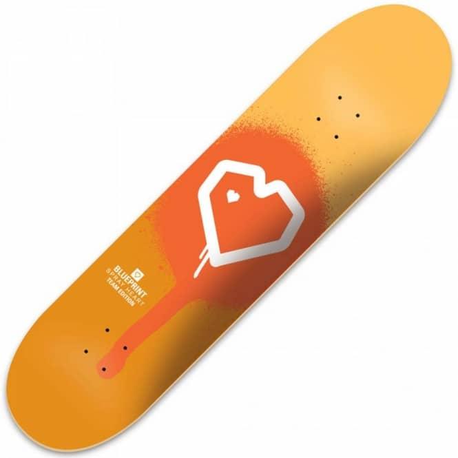 Blueprint skateboards blueprint spray heart orange deck 775 blueprint spray heart orange deck 775quot malvernweather Gallery