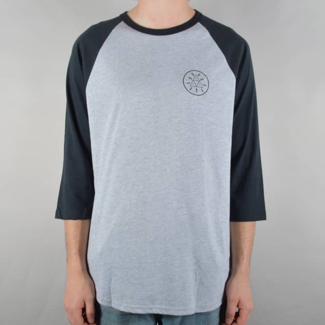 HUF Bolt Triangle Raglan T-Shirt - Athletic Heather/Navy