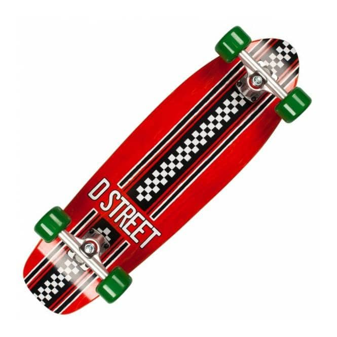 D Street Skateboards Bomber Check Red/Green Cruiser Skateboard