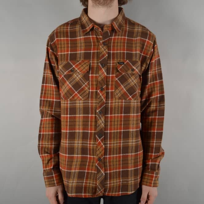 Brixton Bowery Long Sleeve Flannel Shirt - Brown/Copper