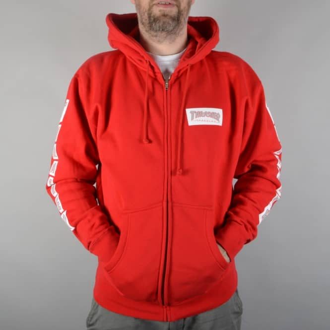 Thrasher Boxed Logo Zip Hoodie - Red