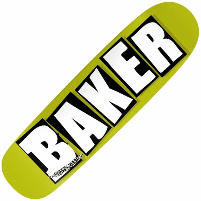 Baker Skateboards Brand Logo Green (Shaped) Skateboard Deck 8.475
