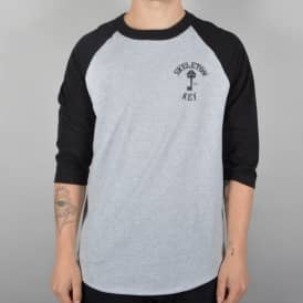 Branded Key 3/4 Sleeve Raglan - Grey/Black