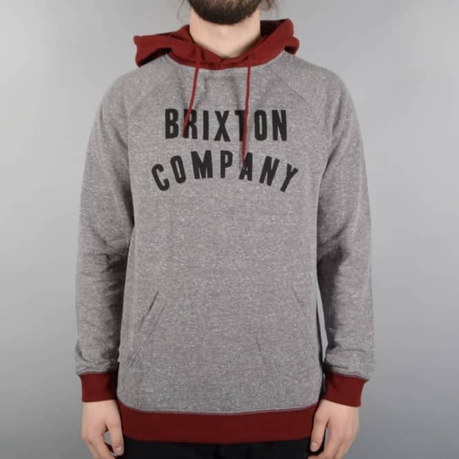 Brixton Barstow Pullover Hoodie - Heather Grey/Burgundy
